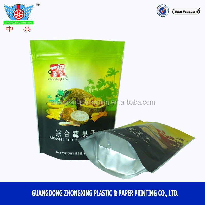 Aluminum foil stand up ziplock bag /Dried jackfruit packing bag/dried fruit packing bag