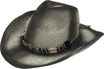 T65-1Fashion Bulk Straw Cowboy Hats With Wood Bead For Mens