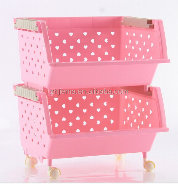 Two/Three Layers Pink Plastic Big Fruit and Vegetable Organizing Storage Stacking Basket