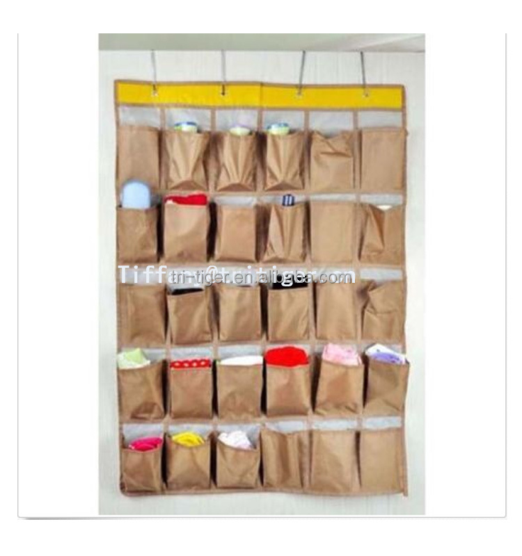 2016 new design polyester non woven 30 pockets hanging shoe organizer hanging storage organizer