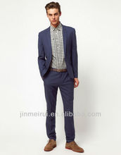 Skinny Fit Suit Trousers in Blue Elegant Men Suits MS044