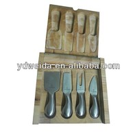 cheese knife set with wooden case