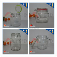 Chinese supplier empty food packaging clear glass mason jar,honey jar with lid