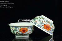 Famille Rose Blue & White Porcelain, Big Red Flower Tea Cup, 70cc/cup