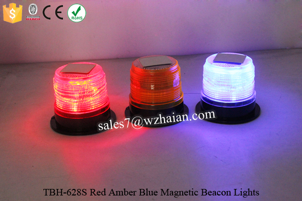 Red Amber Blue LED Solar Rotating Warning Beacon Light TBH-628S