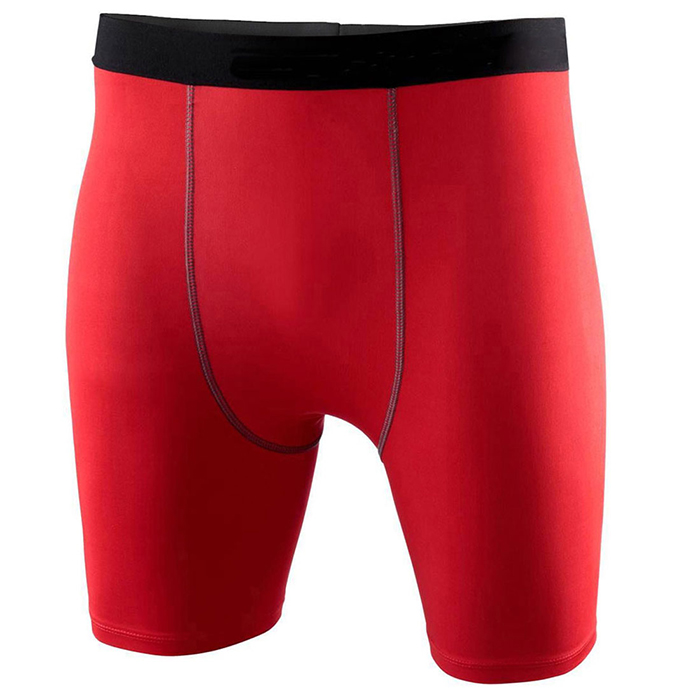 Red workout wear four needles six threads Wholesale custom mens compression tights leggings