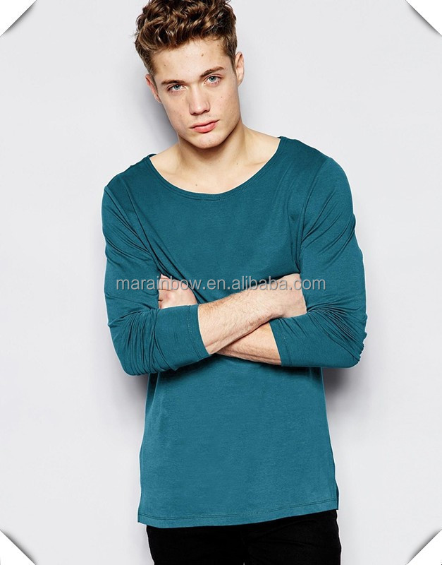 High Quality 100 Cotton Mens Longline Long Sleeve T