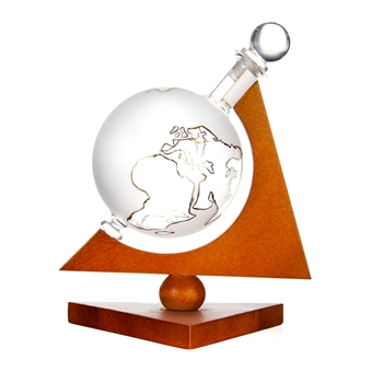 Custom Gift 850 ml Glas Vodka Likeur Whiskey Geëtst Globe Decanter met Houten Basis
