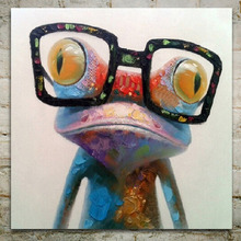 Modern Frog Wear Glasses Art Painting On Canvas