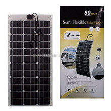 Top Quality Waterproof 80W 18V Semi Flexible Photovoltaic Mono Solar Panel Battery Charger For Yacht/RV