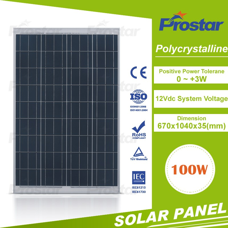 Prostar high efficiency poly-crystalline 12V 100w solar panel price india