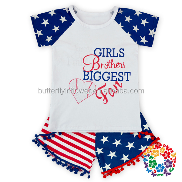 wholesale clothing manufacturers adorable america national days girls boutique matching clothing sets