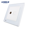 Manufacture Livolo Luxury White Crystal Glass Panel 2 Gangs Wall Computer Network RJ45 and TV Sockets VL-W292VC-12