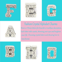 Initial A-Z 8mm rhinestone slide letter charms for flip flop sandals #14990