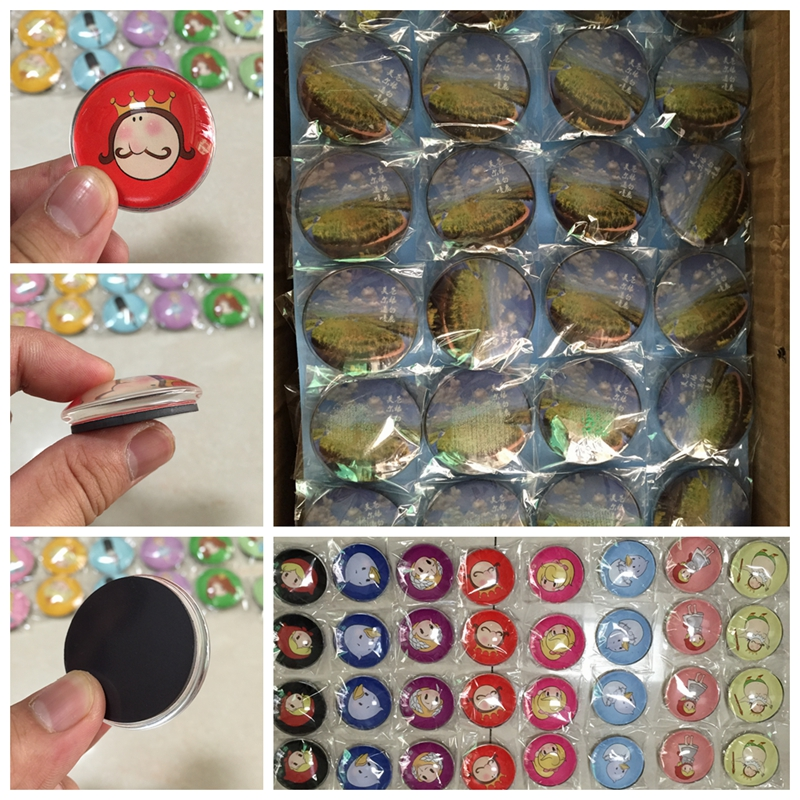 Customized decorative glass magnets round crystal refrigerator magnet in bulk