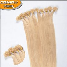 wholesale factory price pre bonded russian hair extensions nail tip/U tip keratin human hair extensions, Italian keratin glue
