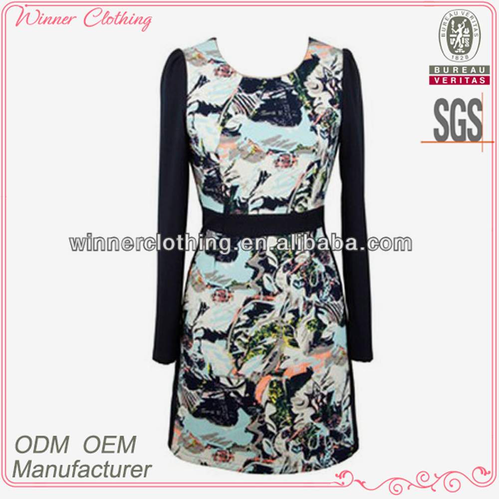 Simple fashion ladies brand long sleeve round neck print clothing wholesale distributors