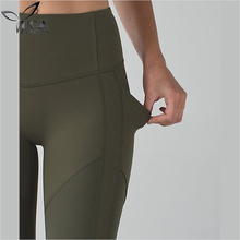 Dongguan Manufacturer Wholesale Womens Gym Tights Khaki Yoga Pants With Side Pockets