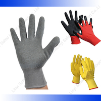Hand protection 13G polyester shell/ latex crinkle coated gloves/ excellent dexterity gloves