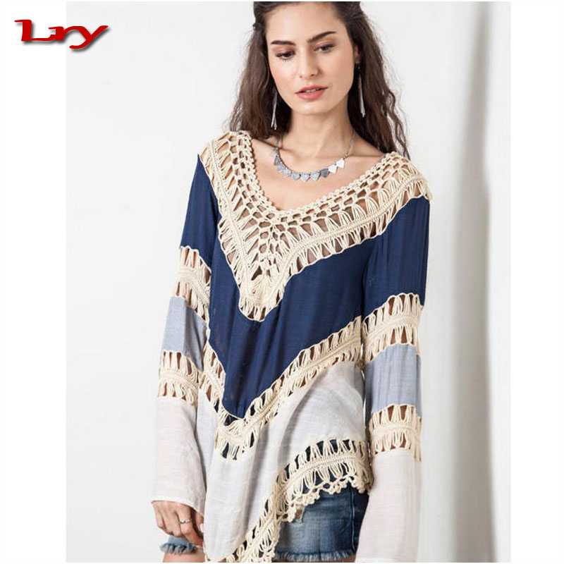 2017 ladies tops latest Pakistan Design Woman Knitted Loose blousses Tops