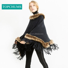 Lightning delivery Amazon hot style keep warming women fur cape shawl poncho