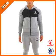 custom cotton polyester men winter gym fitness tracksuit with embroidered logo