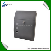 Metal Iron black powder spray painting curved waterproof lockable wall mounted mailbox letterbox postbox