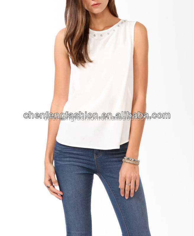 CHEFON Ladies Studded Neck Darted Boxy Tank Top CB0423