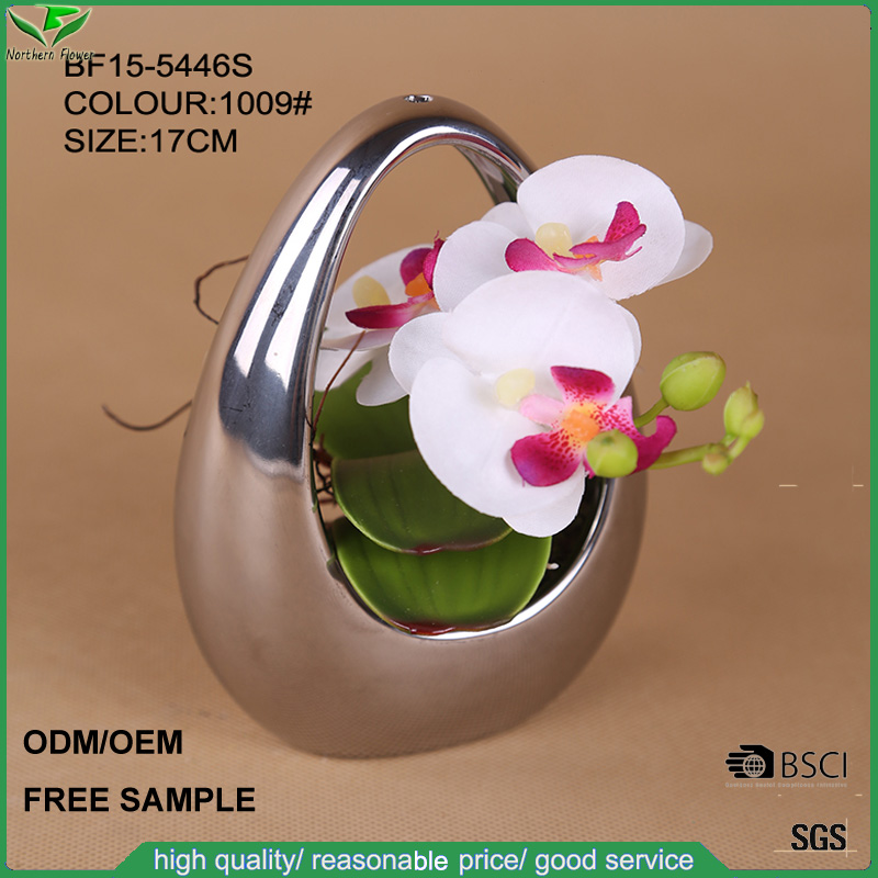 White artificial orchid hanging flower with decorative pot for wedding decoration