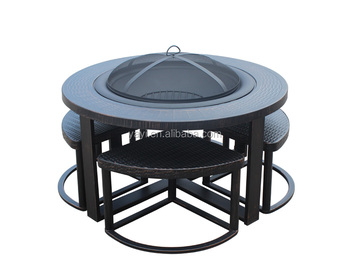 garden treasure steel fire pit table set