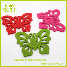 Newly design laser cutting felt butterfly fabric felt cup mat
