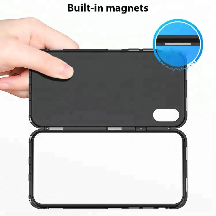 Magnetic Adsorption Case for IPhone X Clear Tempered Glass + Built-in Magnet Phone Case for IPhoneX Metal Ultra <strong>Cover</strong>
