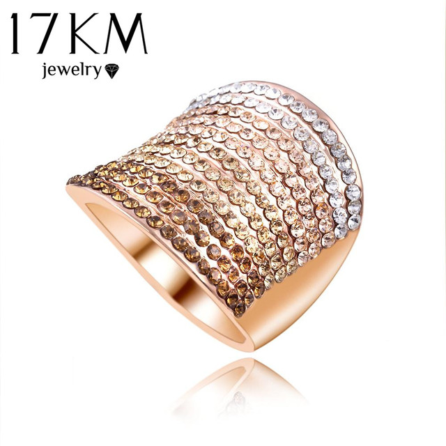 Christmas Gift Gradient Austrian Crystal Engagement Rings/Promise Ring Gold Color Charm Jewelry Ring aneis
