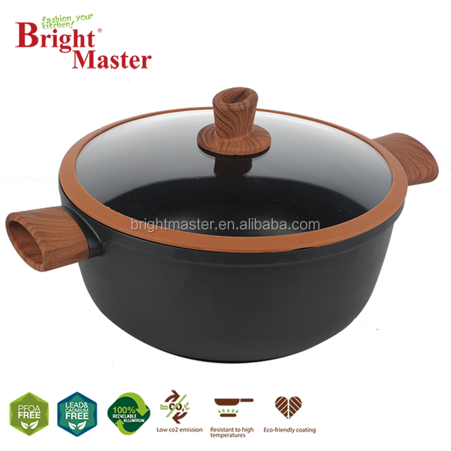 Stock Pot Casserole With Heat Resistant Red Silicon Handles