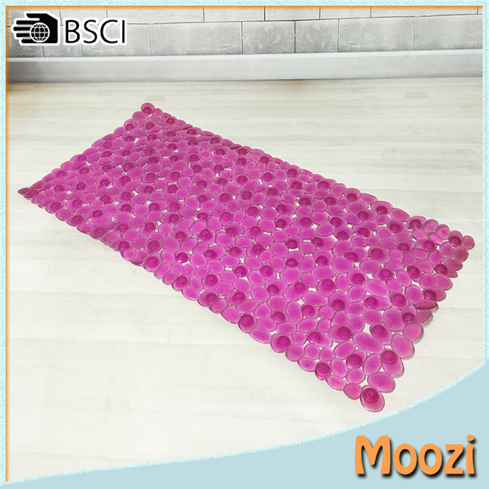 Plastic Pebble bath mat anti skid shower tub mat - Rose red