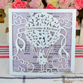 Personalized laser cut balloon white poetical wedding invitations