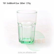 Beautiful Mint green clear glass water cups for decoration high quality