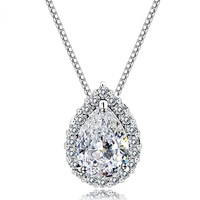 SJNEC011 Best Selling Products Accessories For Women Eco-friendly Brass Cubic Zirconia Rhodium Plating Teardrop Necklace