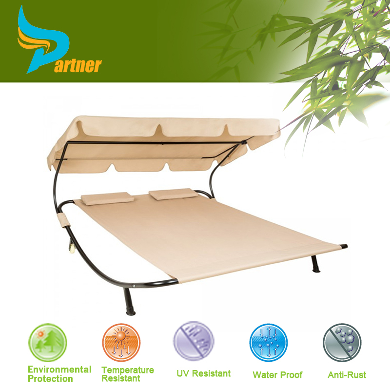 2015 Hotel Romantic Double Rattan Sun Lounger with Canopy