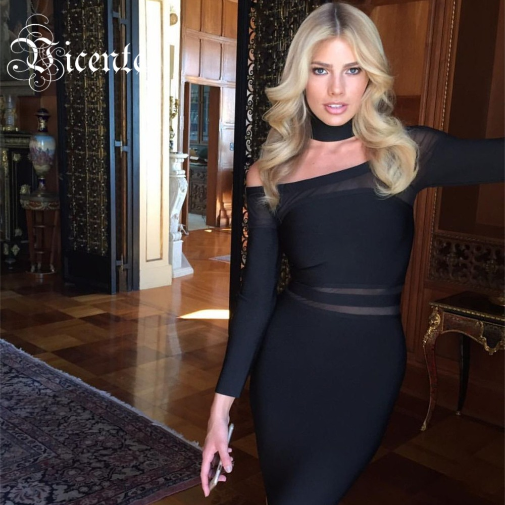 NEW ARRIVEL 2016 2016 New Free Shipping! Fashion Gorgeous Choker Mesh Mied Long Sleeves Celebrity Style Wholesale HL Bandage Dre