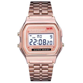 Pesirm Discount Best Selling Quality Rose Gold Slim Fancy Multifunction Sports Japan Casio Style Men's Fashion Digital Watches