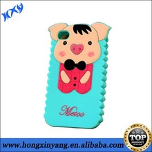 3D lovely Pig Animal silicone case for iPhone 4 4s.