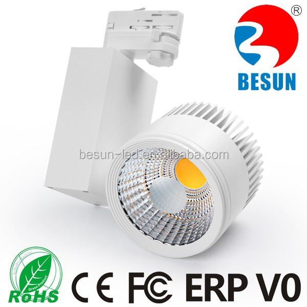 CE RoHS FCC ERP V0 20w 30w 40w 50w CRI>80 led track light 30W cob led track light with 2 /3/ 4 wires adapter