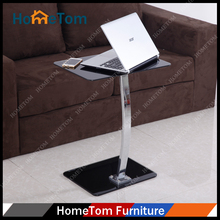 Hometom 6mm+8mm Black Tempered Glass Chromed Metal Legs Computer Table