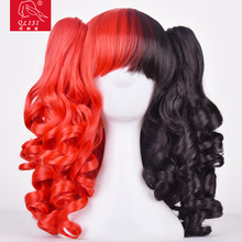 Red Black Synthetic Cosplay Wigs With Two Ponytails