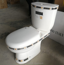 Chaozhou Factory Two Pieces Sanitary Ware Golden Colored Decorative Toilet