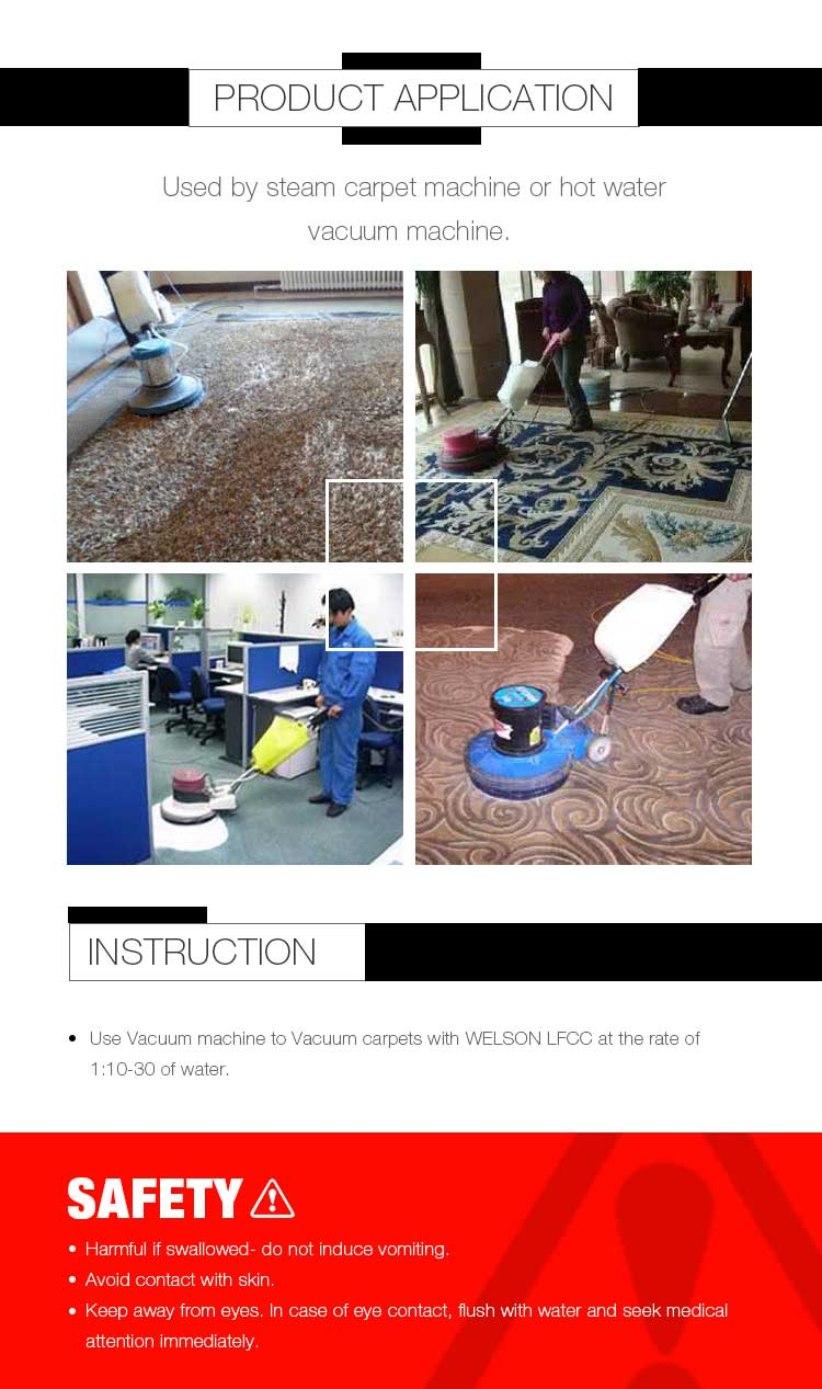 Carpet cleaner for hot water carpet extractor