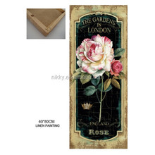 wholesale with beautiful flowers and rose decorative linen painting