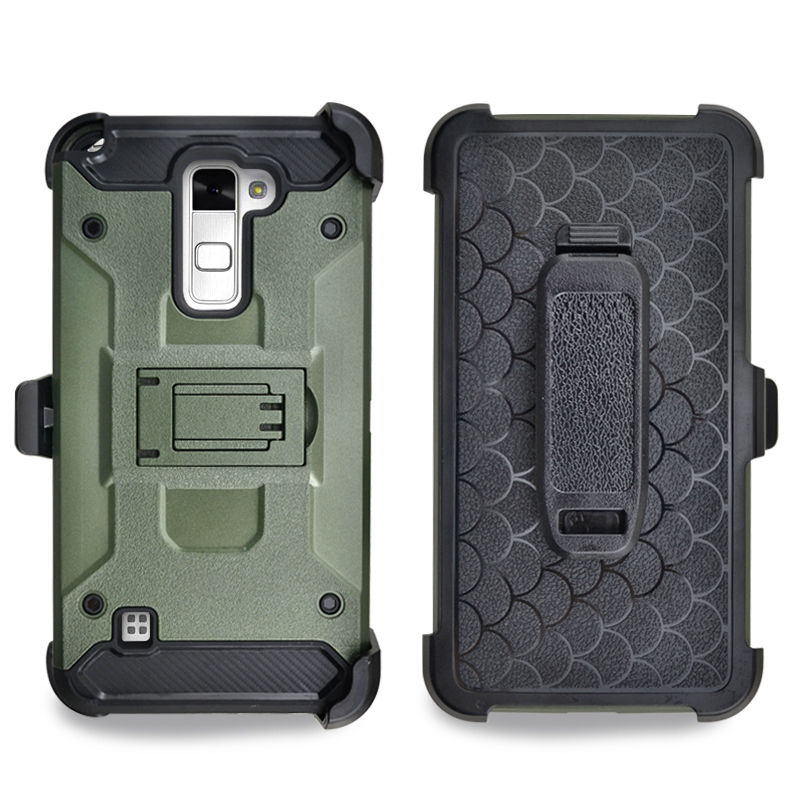 2017 new 3 in 1 Military Style Future Stand Armor Impact Rugged Combo Case with Belt Chip For LG K520
