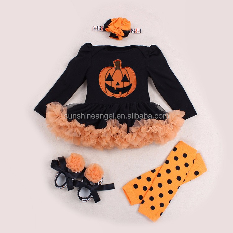 long sleeve cotton baby infant romper set pumpkin halloween girls outfits